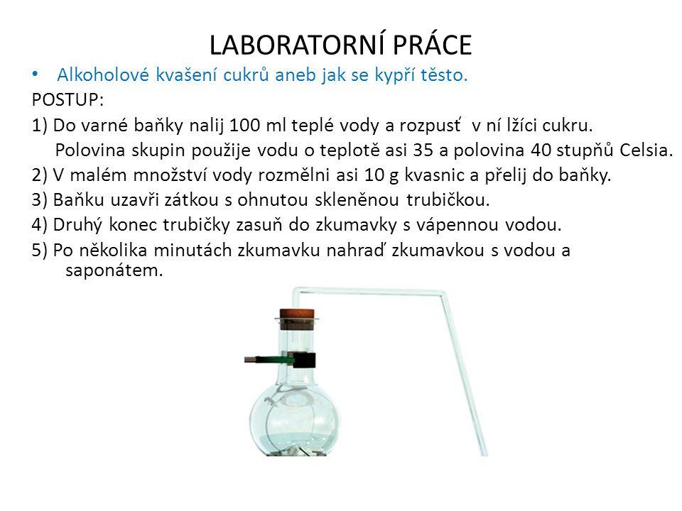 LABORATORNÍ PRÁCE Alkoholové kvašení cukrů aneb jak se kypří těsto. POSTUP: 1) Do varné baňky nalij 100 ml teplé vody a rozpusť v ní lžíci cukru. Polo