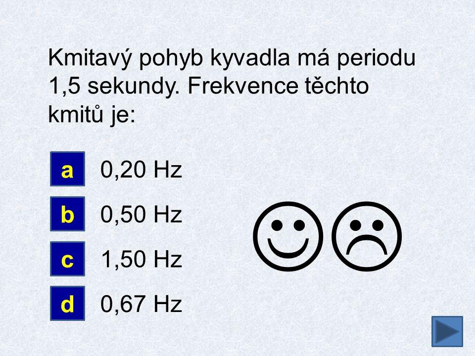 Kmitavý pohyb kyvadla má periodu 1,5 sekundy. Frekvence těchto kmitů je: a b 0,20 Hz 0,50 Hz d c 1,50 Hz 0,67 Hz 