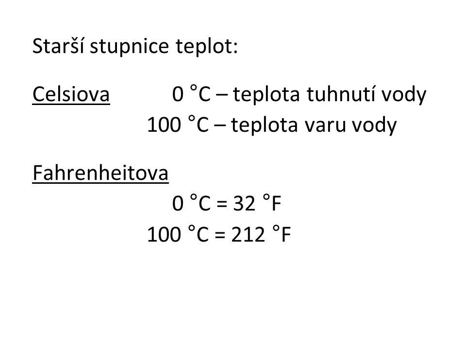 Starší stupnice teplot: Celsiova0 °C – teplota tuhnutí vody 100 °C – teplota varu vody Fahrenheitova 0 °C = 32 °F 100 °C = 212 °F