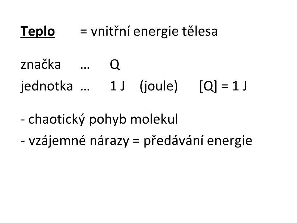 Teplo = vnitřní energie tělesa značka…Q jednotka…1 J(joule)[Q] = 1 J - chaotický pohyb molekul - vzájemné nárazy = předávání energie