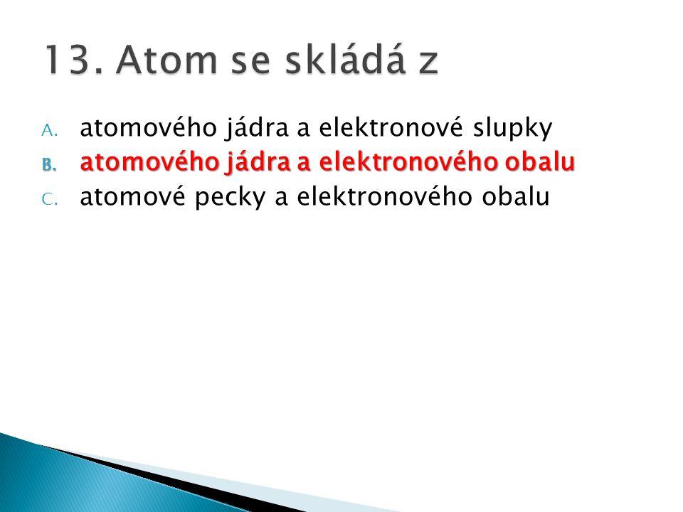 A. atomového jádra a elektronové slupky B. atomového jádra a elektronového obalu C. atomové pecky a elektronového obalu