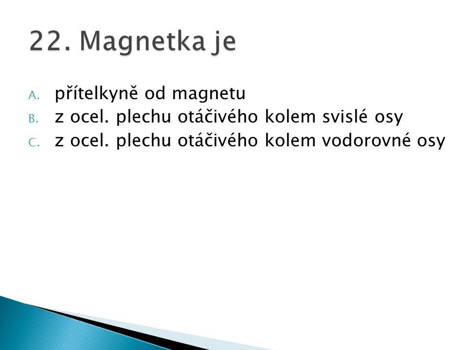A. přítelkyně od magnetu B. z ocel. plechu otáčivého kolem svislé osy C. z ocel. plechu otáčivého kolem vodorovné osy