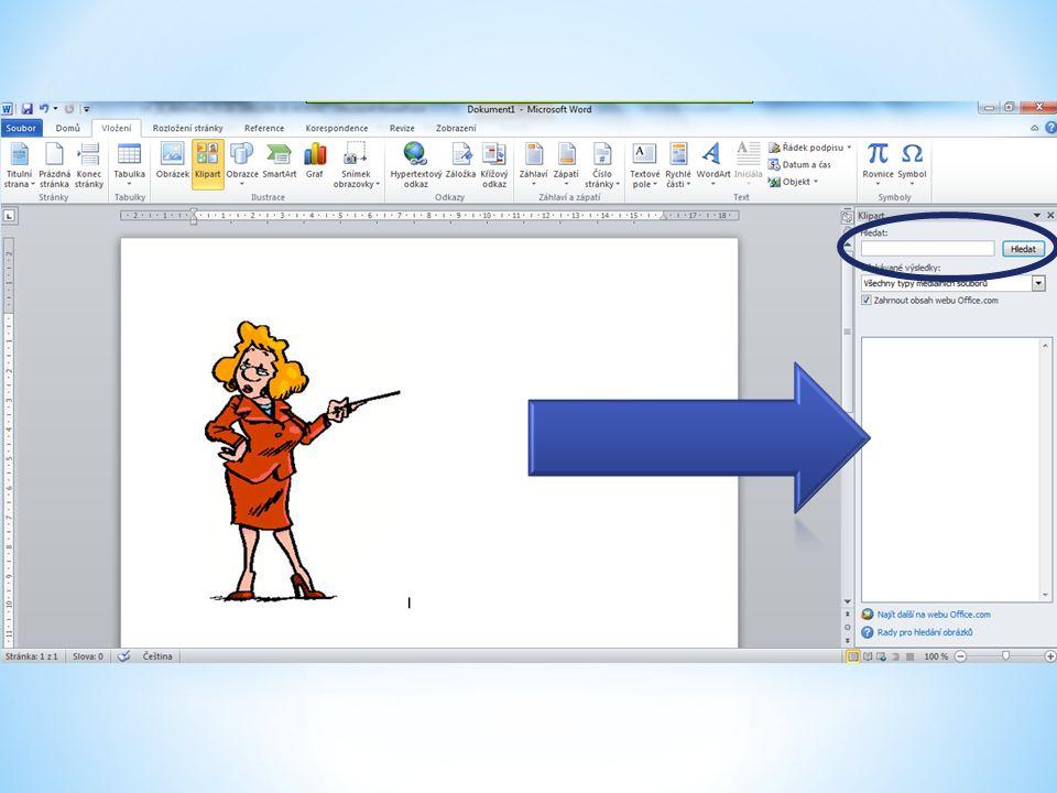 Klipart 3.V otevřeném okně Klipart se zobrazí náhled na kliparty daného charakteru.