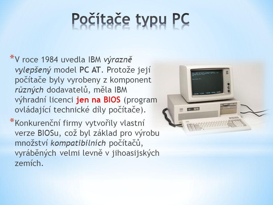 * V roce 1984 uvedla IBM výrazně vylepšený model PC AT. Protože její počítače byly vyrobeny z komponent různých dodavatelů, měla IBM výhradní licenci
