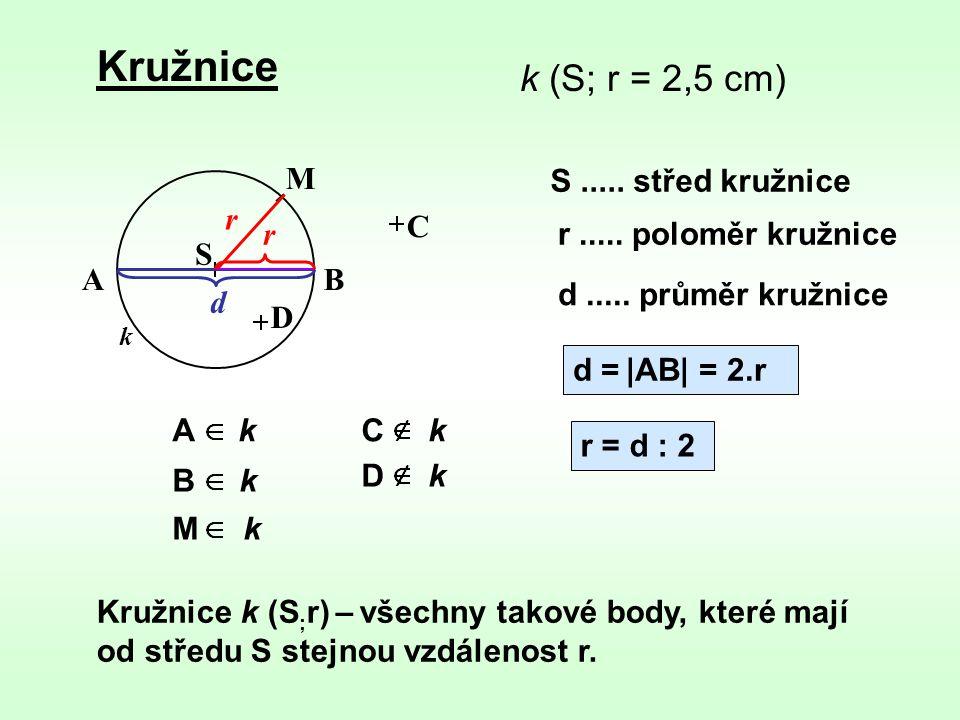 Kružnice k Kružnice k (S ; r) – všechny takové body, které mají od středu S stejnou vzdálenost r. k (S; r = 2,5 cm) S r d = |AB| = 2.r S..... střed kr