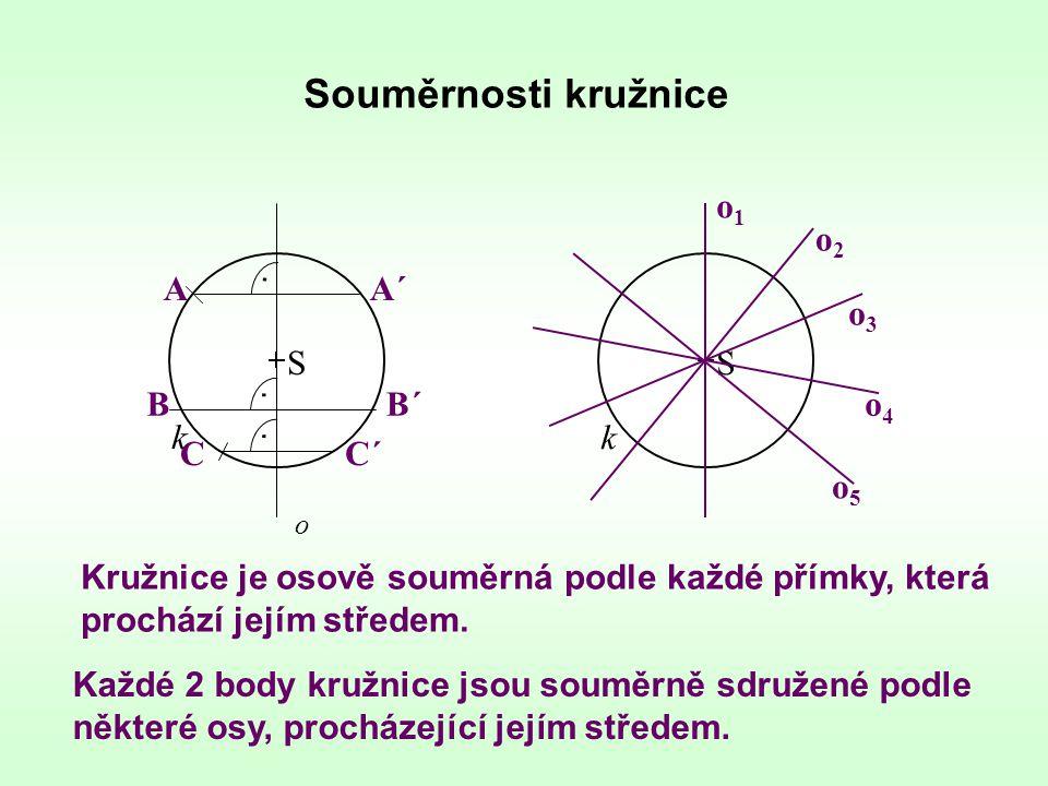 Souměrnosti kružnice k o S Kružnice je osově souměrná podle každé přímky, která prochází jejím středem. AA´ BB´ CC´... k S o2o2 o1o1 o3o3 o4o4 o5o5 Ka