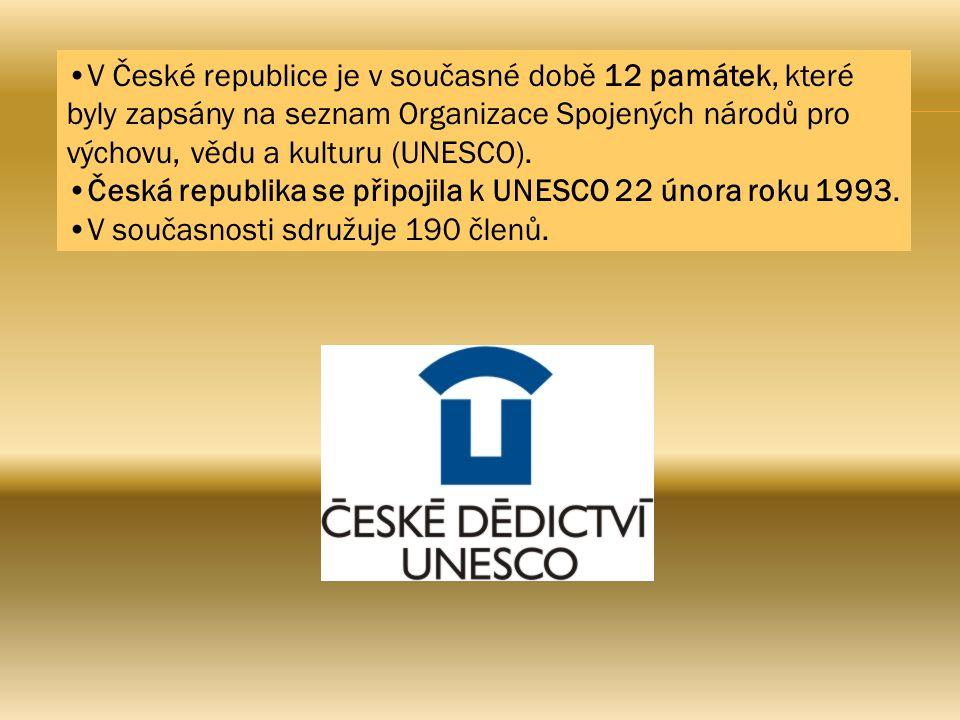 V České republice je v současné době 12 památek, které byly zapsány na seznam Organizace Spojených národů pro výchovu, vědu a kulturu (UNESCO). Česká