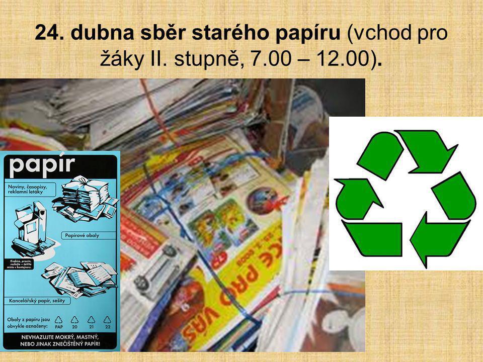 24. dubna sběr starého papíru (vchod pro žáky II. stupně, 7.00 – 12.00).
