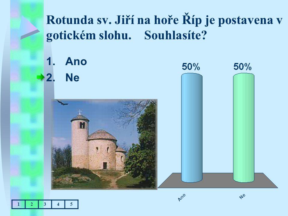 Rotunda sv. Jiří na hoře Říp je postavena v gotickém slohu. Souhlasíte? 1.Ano 2.Ne 12345