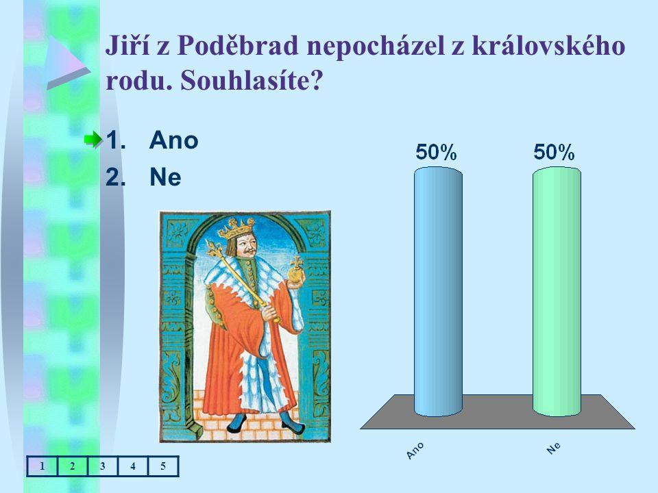 Jiří z Poděbrad nepocházel z královského rodu. Souhlasíte? 1.Ano 2.Ne 12345