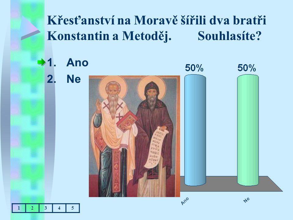Křesťanství na Moravě šířili dva bratři Konstantin a Metoděj. Souhlasíte? 1.Ano 2.Ne 12345