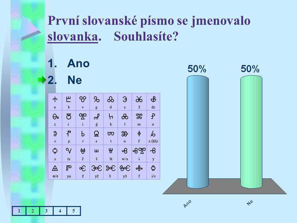 První slovanské písmo se jmenovalo slovanka. Souhlasíte? 1.Ano 2.Ne 12345