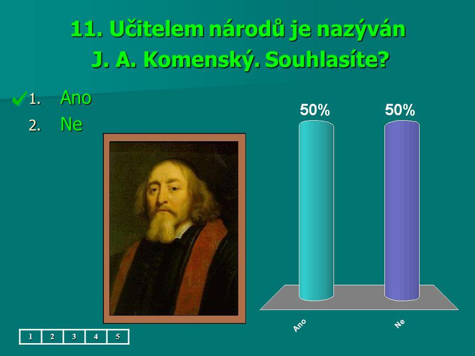 11. Učitelem národů je nazýván J. A. Komenský. Souhlasíte? 1. Ano 2. Ne 12345