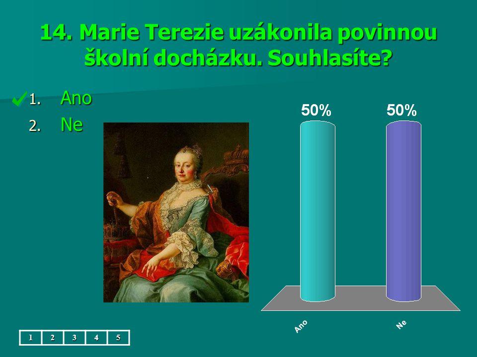 14. Marie Terezie uzákonila povinnou školní docházku. Souhlasíte? 1. Ano 2. Ne 12345