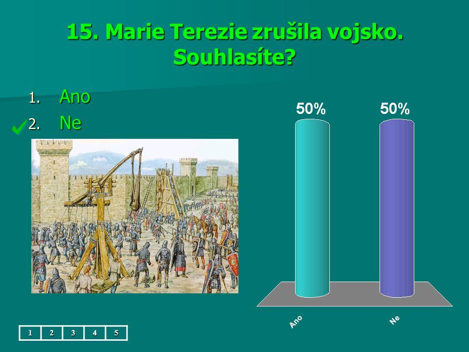 15. Marie Terezie zrušila vojsko. Souhlasíte 1. Ano 2. Ne 12345