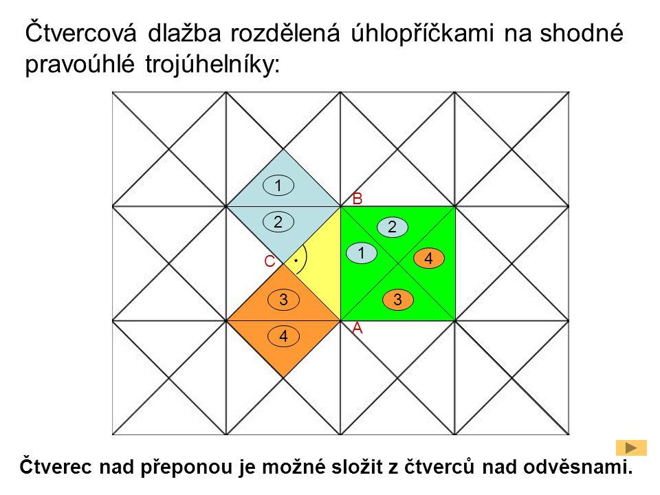 Čtvercová dlažba rozdělená úhlopříčkami na shodné pravoúhlé trojúhelníky:. A C B 1 2 3 4 3 1 2 4 Čtverec nad přeponou je možné složit z čtverců nad od