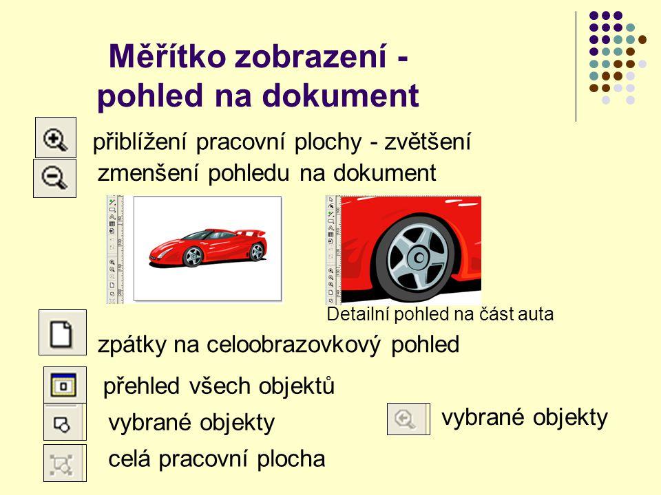 Měřítko zobrazení - pohled na dokument přiblížení pracovní plochy - zvětšení Detailní pohled na část auta zpátky na celoobrazovkový pohled zmenšení pohledu na dokument přehled všech objektů vybrané objekty celá pracovní plocha