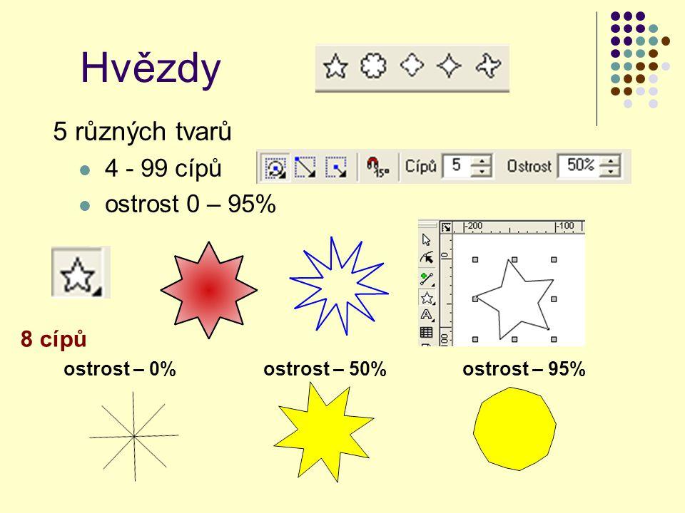 5 různých tvarů 4 - 99 cípů ostrost 0 – 95% ostrost – 0%ostrost – 95%ostrost – 50% 8 cípů Hvězdy