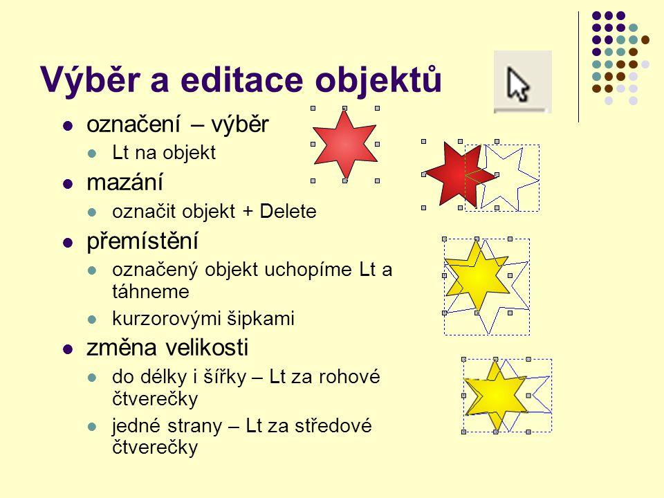 Výběr a editace objektů označení – výběr Lt na objekt mazání označit objekt + Delete přemístění označený objekt uchopíme Lt a táhneme kurzorovými šipk