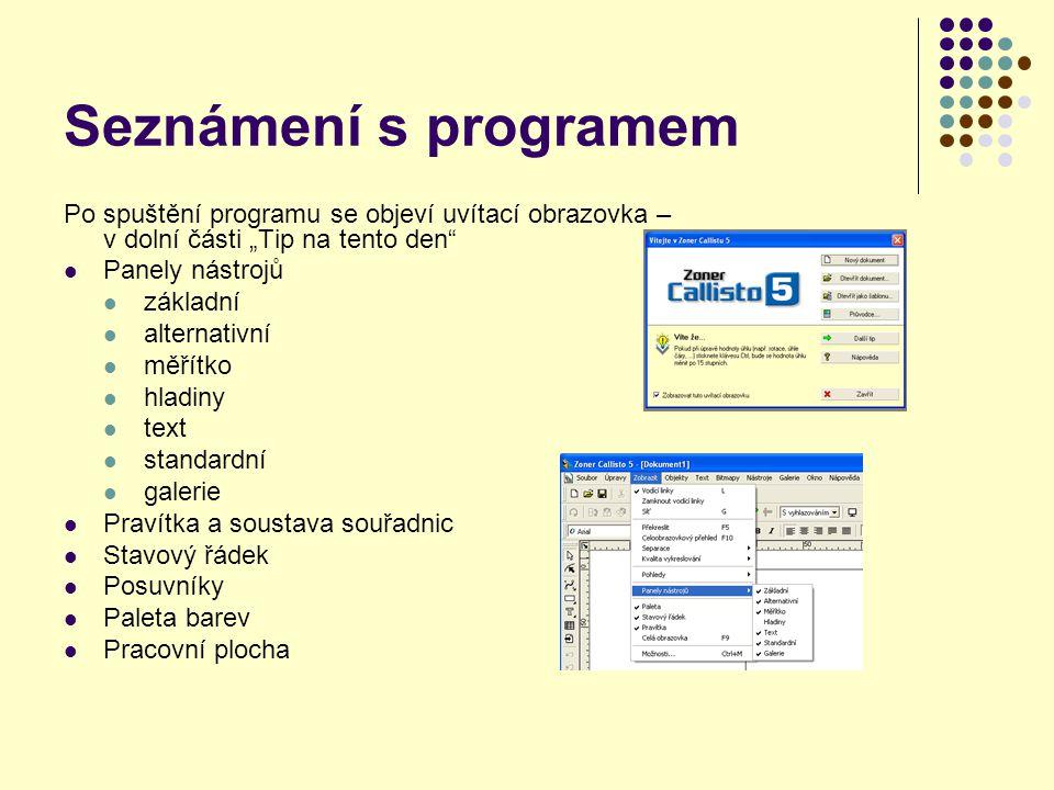 základní panel standardní panel panel pro úpravu textu alternativní panel stavový řádek galerie paleta barev pracovní plocha posuvníky pravítka a soustava souřadnic stránky v dokumentu okraj stránky