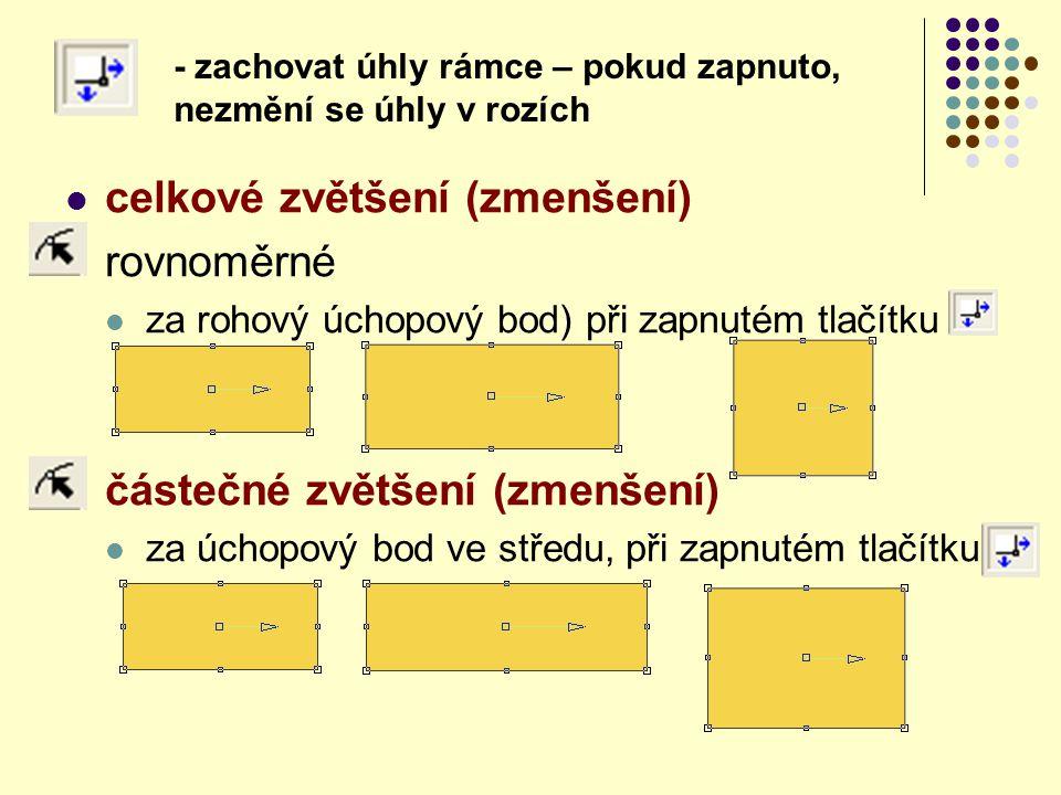 celkové zvětšení (zmenšení) rovnoměrné za rohový úchopový bod) při zapnutém tlačítku částečné zvětšení (zmenšení) za úchopový bod ve středu, při zapnu