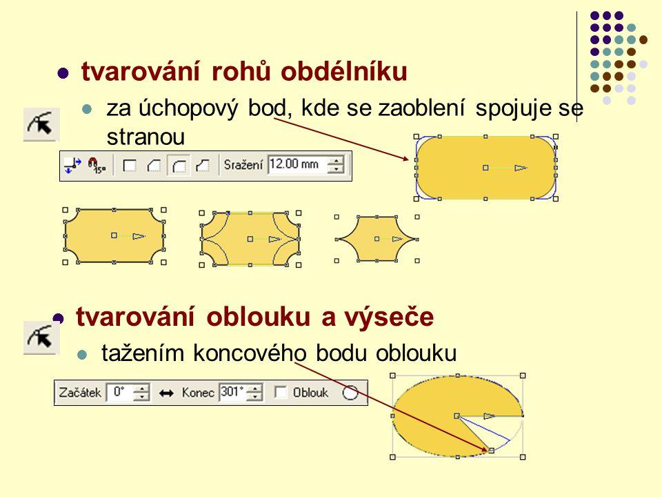 tvarování rohů obdélníku za úchopový bod, kde se zaoblení spojuje se stranou tvarování oblouku a výseče tažením koncového bodu oblouku