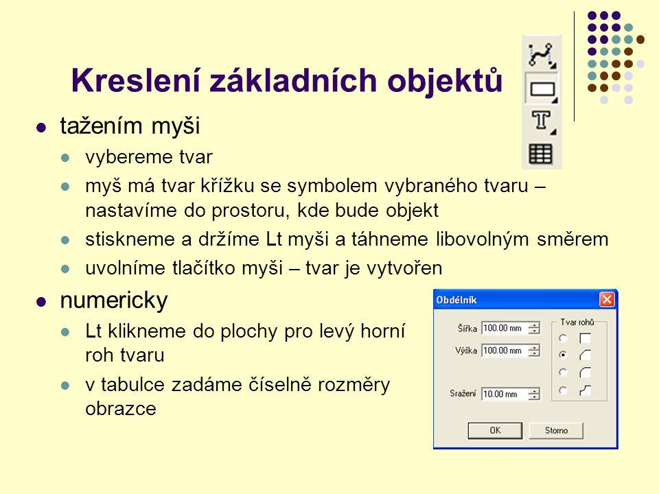 Práce s textovým rámcem text – chová se jako objekt – je možné ho přesouvat, umístit na přesně definovanou pozici změna velikosti otočení
