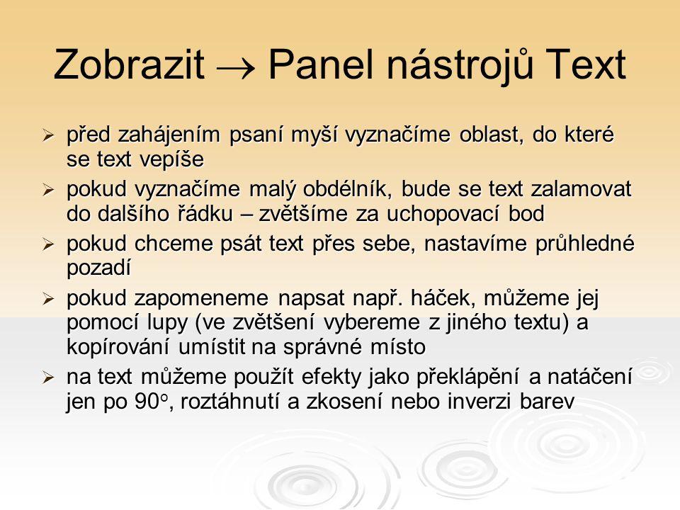 Zobrazit  Panel nástrojů Text  před zahájením psaní myší vyznačíme oblast, do které se text vepíše  pokud vyznačíme malý obdélník, bude se text zal