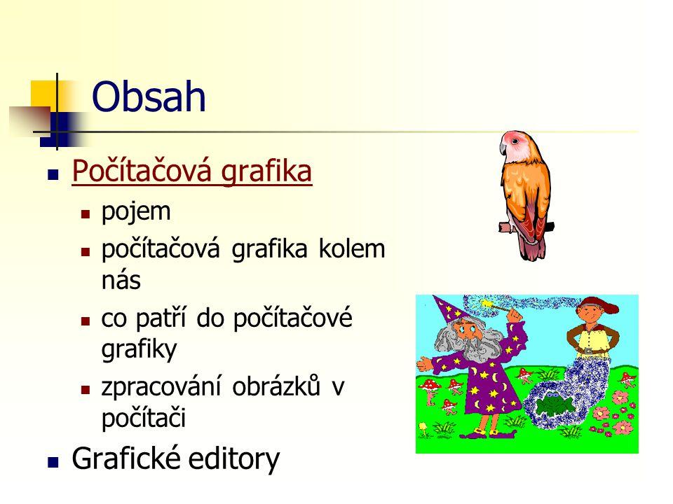 Obsah Počítačová grafika pojem počítačová grafika kolem nás co patří do počítačové grafiky zpracování obrázků v počítači Grafické editory