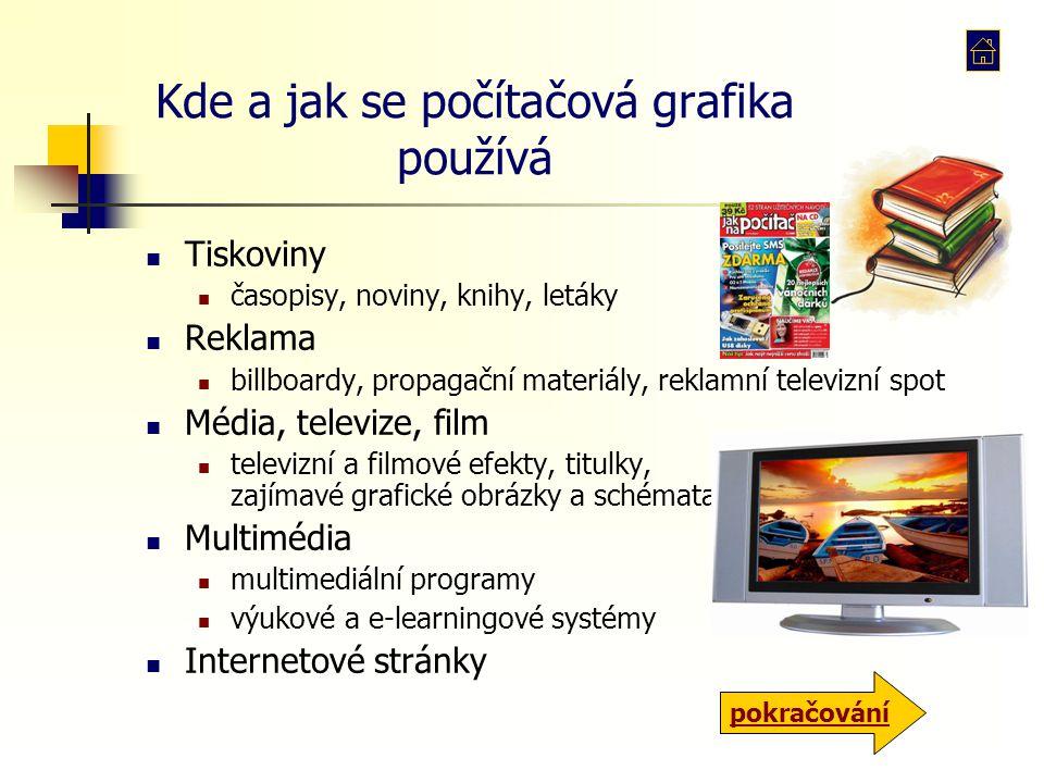 Kde a jak se počítačová grafika používá Tiskoviny časopisy, noviny, knihy, letáky Reklama billboardy, propagační materiály, reklamní televizní spot Mé