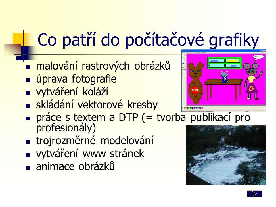 Co patří do počítačové grafiky malování rastrových obrázků úprava fotografie vytváření koláží skládání vektorové kresby práce s textem a DTP (= tvorba