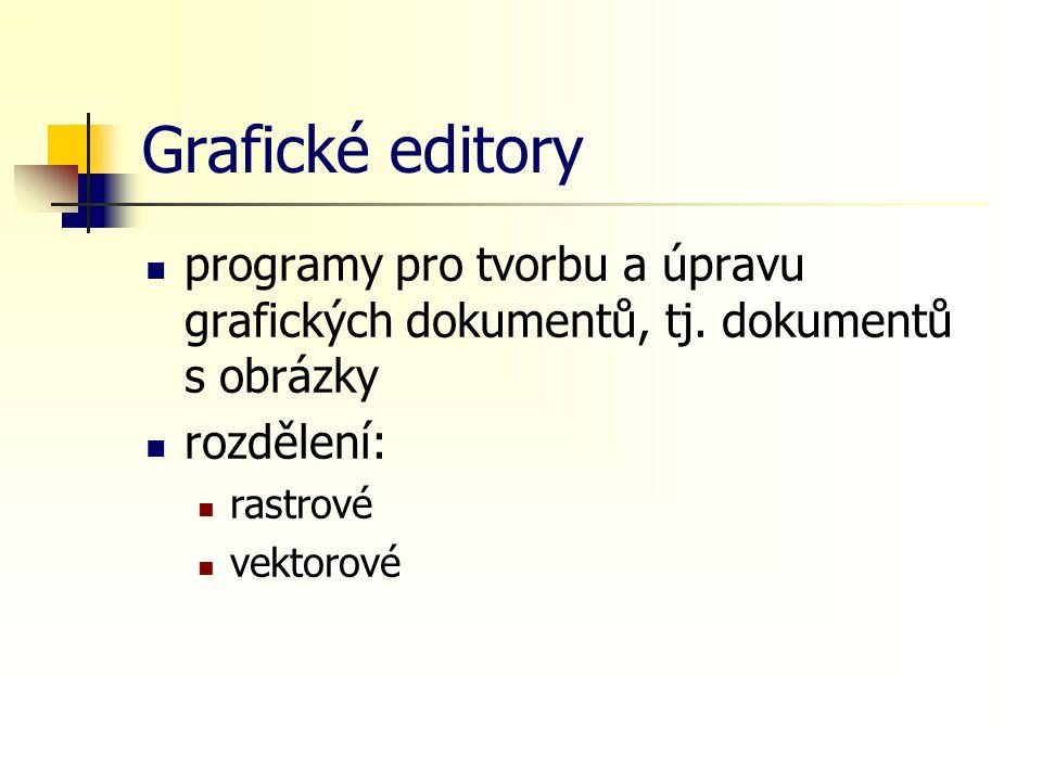 Grafické editory programy pro tvorbu a úpravu grafických dokumentů, tj. dokumentů s obrázky rozdělení: rastrové vektorové