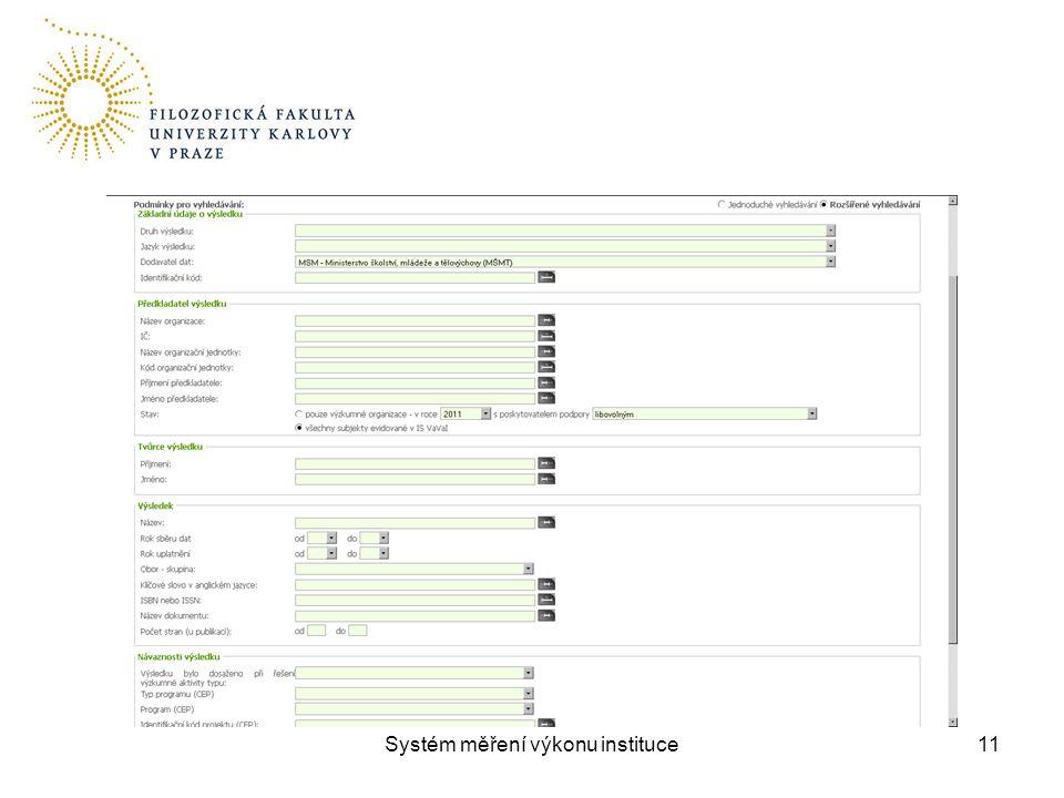 Systém měření výkonu instituce11