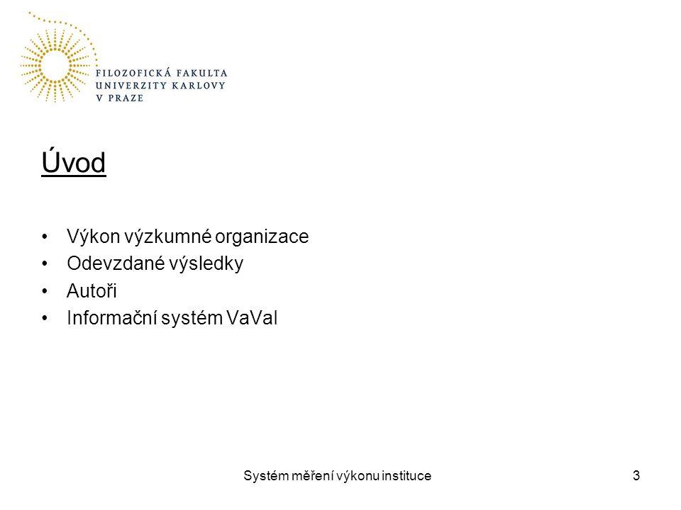 Systém měření výkonu instituce Úvod Výkon výzkumné organizace Odevzdané výsledky Autoři Informační systém VaVaI 3