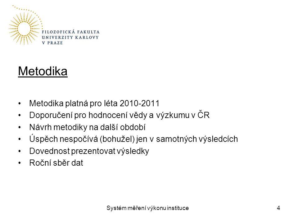Systém měření výkonu instituce Metodika Metodika platná pro léta 2010-2011 Doporučení pro hodnocení vědy a výzkumu v ČR Návrh metodiky na další období