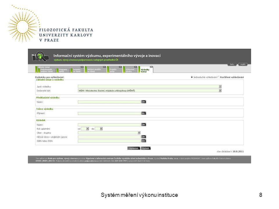 Systém měření výkonu instituce8