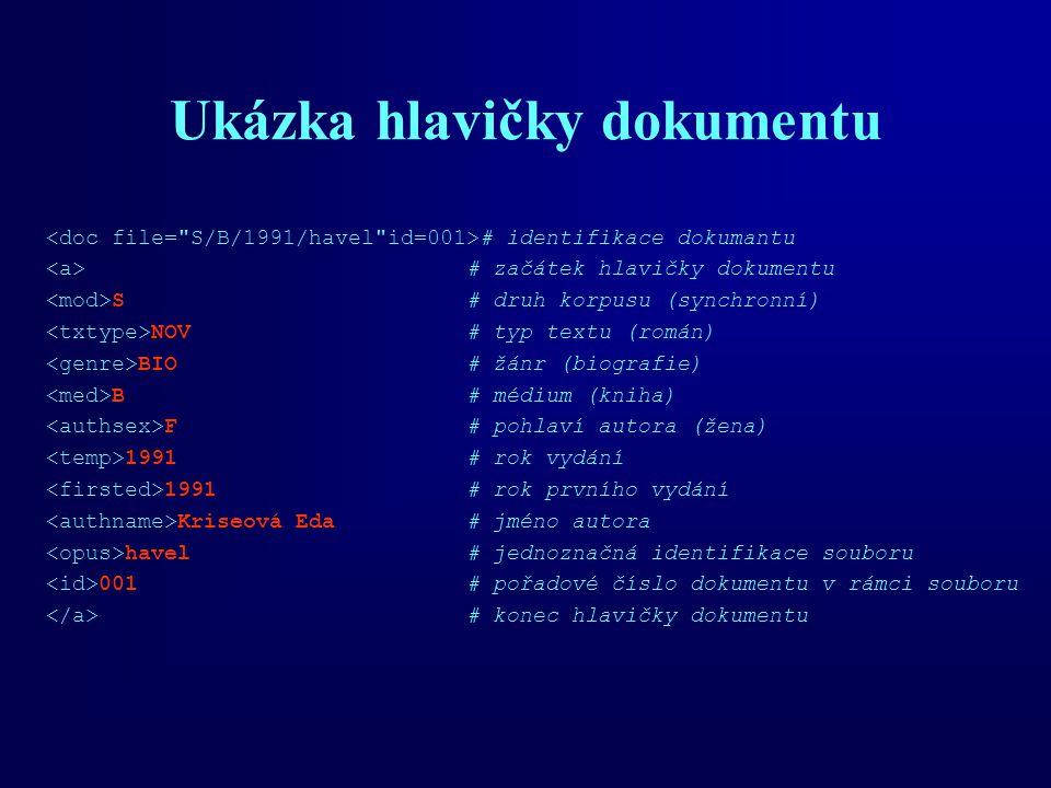 Ukázka hlavičky dokumentu # identifikace dokumantu # začátek hlavičky dokumentu S# druh korpusu (synchronní) NOV# typ textu (román) BIO# žánr (biograf