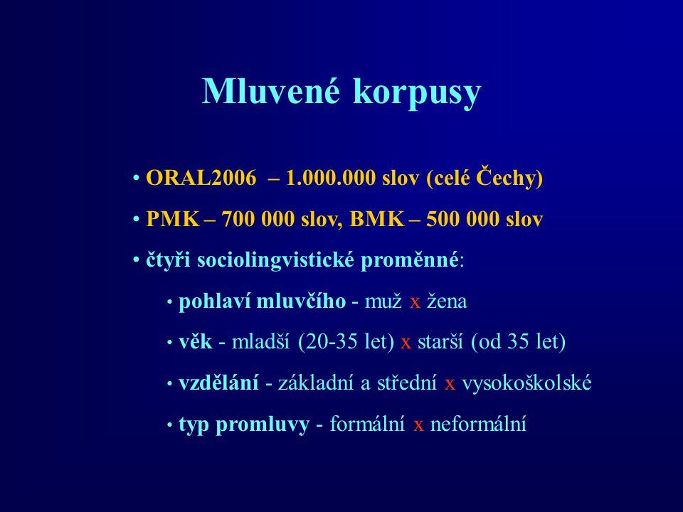 Mluvené korpusy ORAL2006 – 1.000.000 slov (celé Čechy) PMK – 700 000 slov, BMK – 500 000 slov čtyři sociolingvistické proměnné: pohlaví mluvčího - muž x žena věk - mladší (20-35 let) x starší (od 35 let) vzdělání - základní a střední x vysokoškolské typ promluvy - formální x neformální