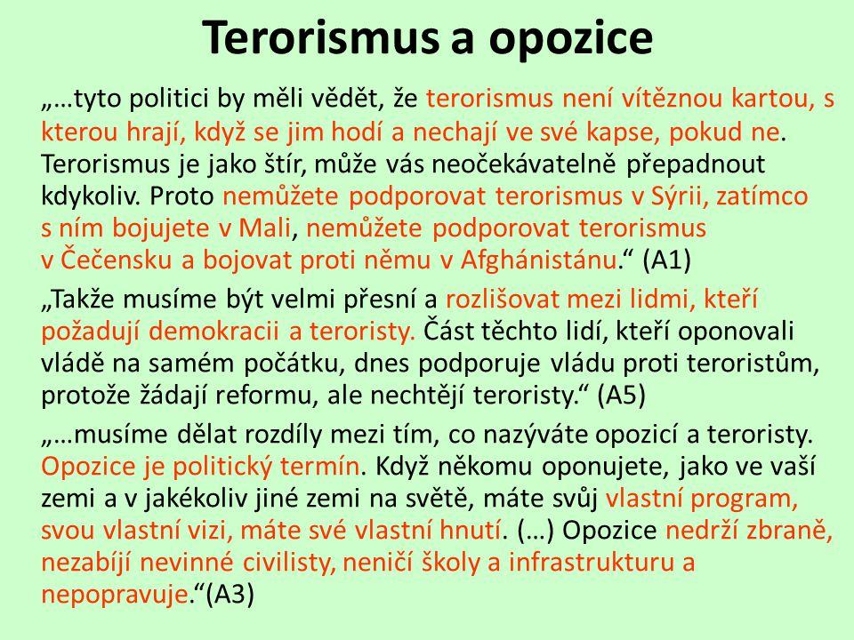 """Terorismus a opozice """"…tyto politici by měli vědět, že terorismus není vítěznou kartou, s kterou hrají, když se jim hodí a nechají ve své kapse, pokud ne."""