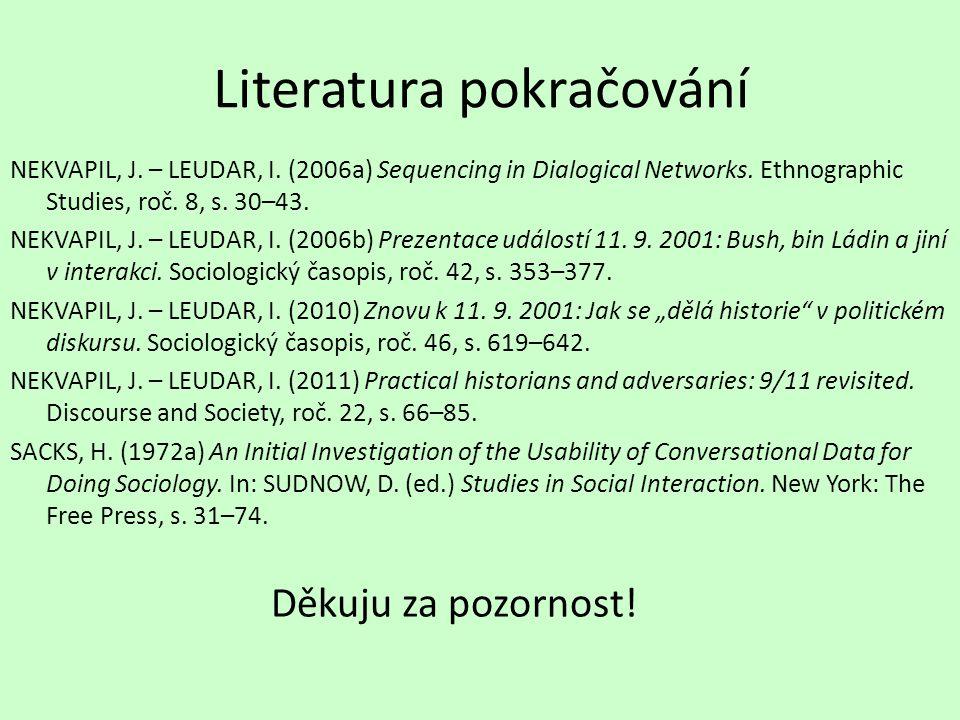 Literatura pokračování NEKVAPIL, J. – LEUDAR, I. (2006a) Sequencing in Dialogical Networks.