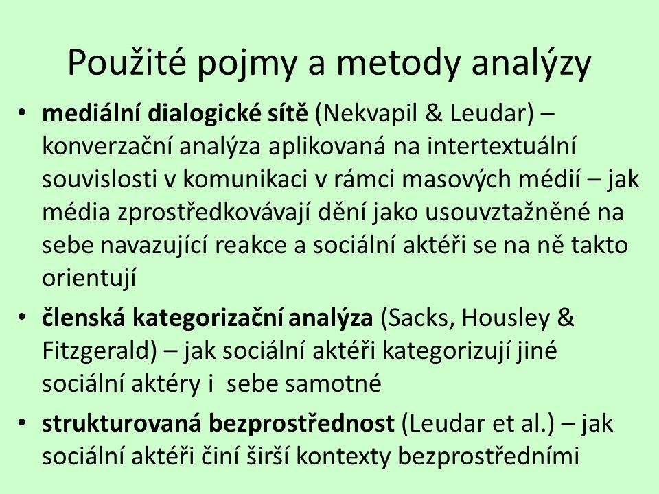 Použité pojmy a metody analýzy mediální dialogické sítě (Nekvapil & Leudar) – konverzační analýza aplikovaná na intertextuální souvislosti v komunikaci v rámci masových médií – jak média zprostředkovávají dění jako usouvztažněné na sebe navazující reakce a sociální aktéři se na ně takto orientují členská kategorizační analýza (Sacks, Housley & Fitzgerald) – jak sociální aktéři kategorizují jiné sociální aktéry i sebe samotné strukturovaná bezprostřednost (Leudar et al.) – jak sociální aktéři činí širší kontexty bezprostředními