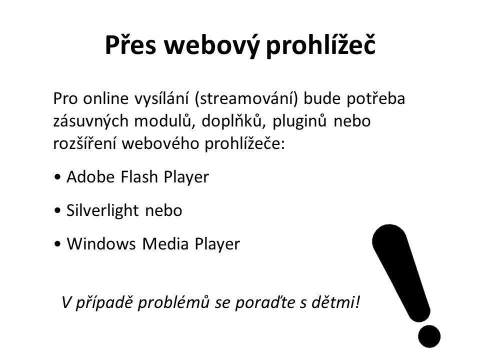 Pro online vysílání (streamování) bude potřeba zásuvných modulů, doplňků, pluginů nebo rozšíření webového prohlížeče: Adobe Flash Player Silverlight n