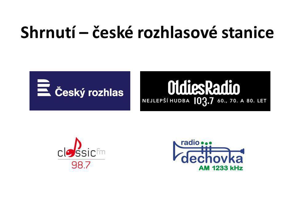 Shrnutí – české rozhlasové stanice