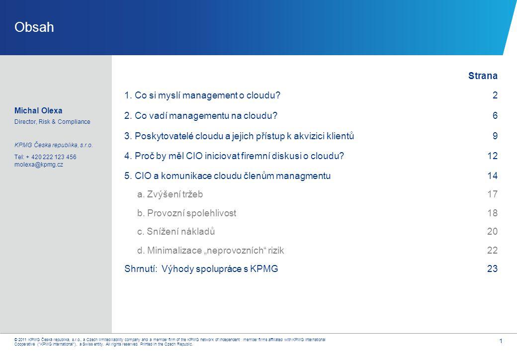 1. Co si myslí TOP management o cloudu? (Průzkum KPMG NL 2010)