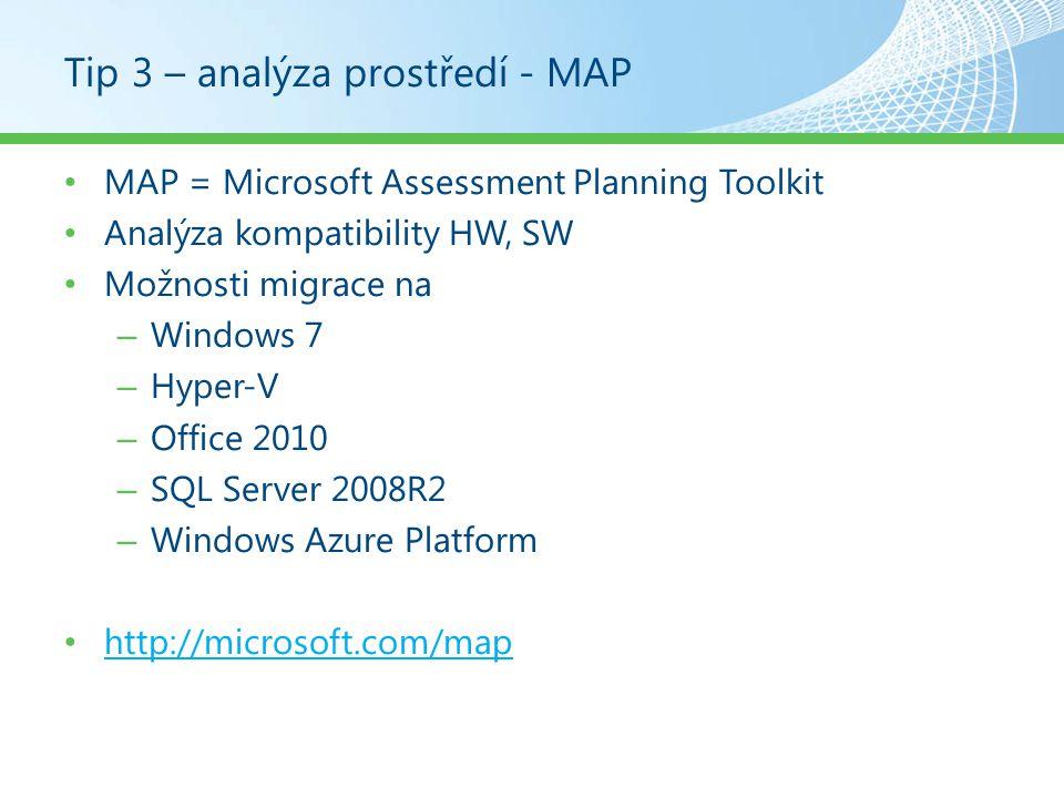 Tip 13 – Migrace stavu uživatele Automatizace migrace stavu uživatele – Ručně: Windows Easy Transfer XP  Win7, Vista  Win7, Win7  Win7 Pro starší OS nutný download!.