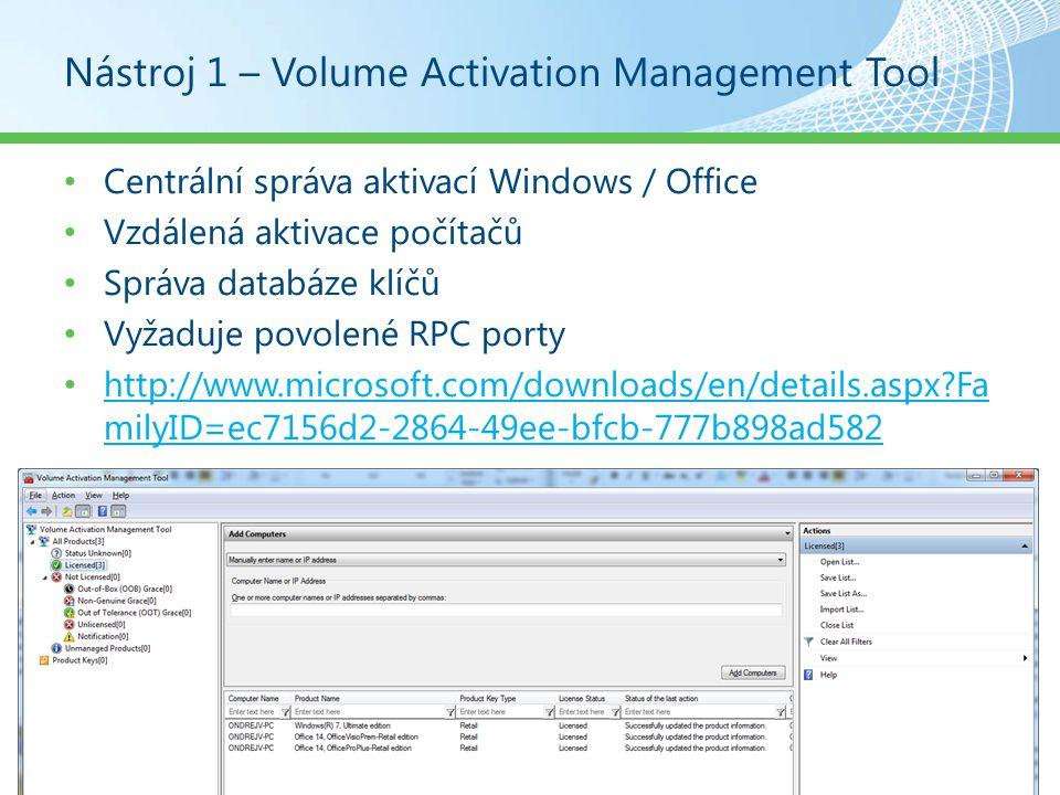 Nástroj 4 – Deployment Image Servicing Management Povolení, zakázání, odebrání, přidání funkcí, balíčků a aktualizací Přidání, odebrání, výpis ovladačů Podpora WIM a VHD OEM výrobci mohou vybrat edici offline