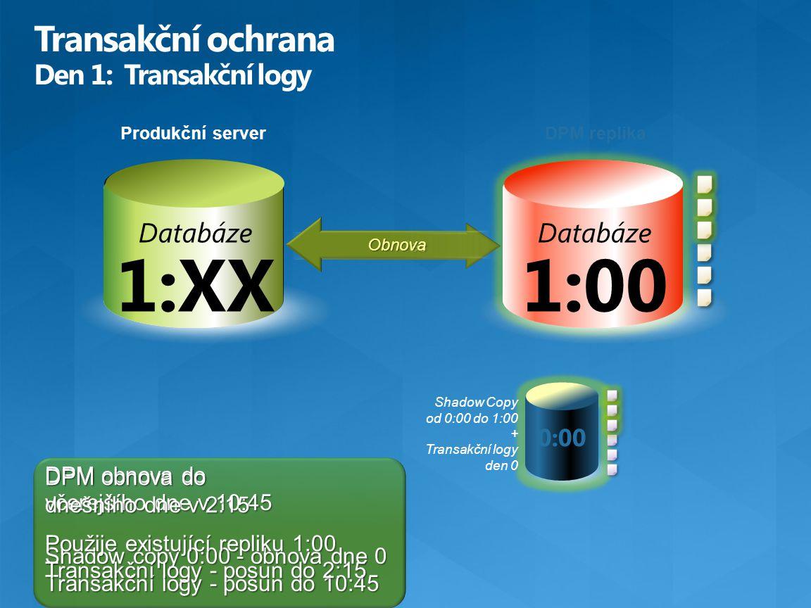 DPM obnova do včerejšího dne v 10:45 Shadow copy 0:00 - obnova dne 0 Transakční logy - posun do 10:45 Produkční server Database 1:00 Databáze 1:00 0:0