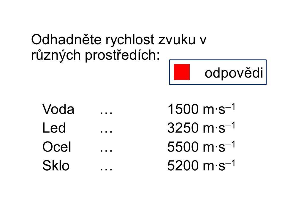 Odhadněte rychlost zvuku v různých prostředích: odpovědi 1500 m∙s –1 3250 m∙s –1 5500 m∙s –1 5200 m∙s –1 Voda… Led… Ocel… Sklo…