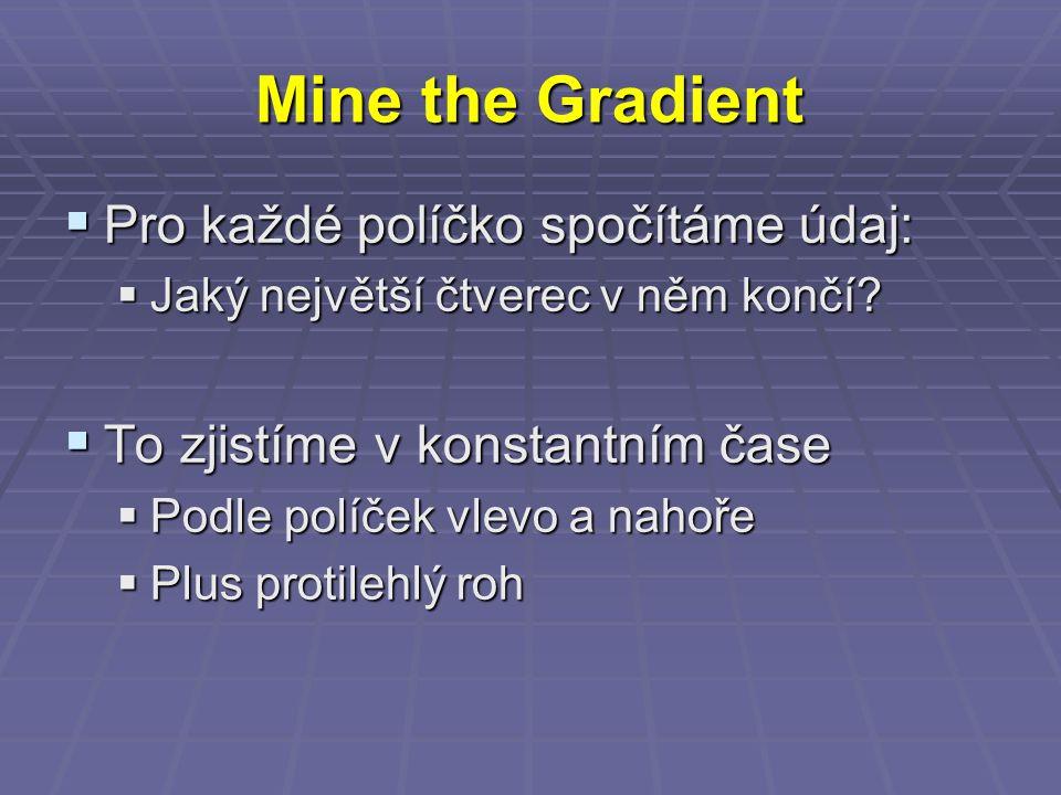 Mine the Gradient  Pro každé políčko spočítáme údaj:  Jaký největší čtverec v něm končí.