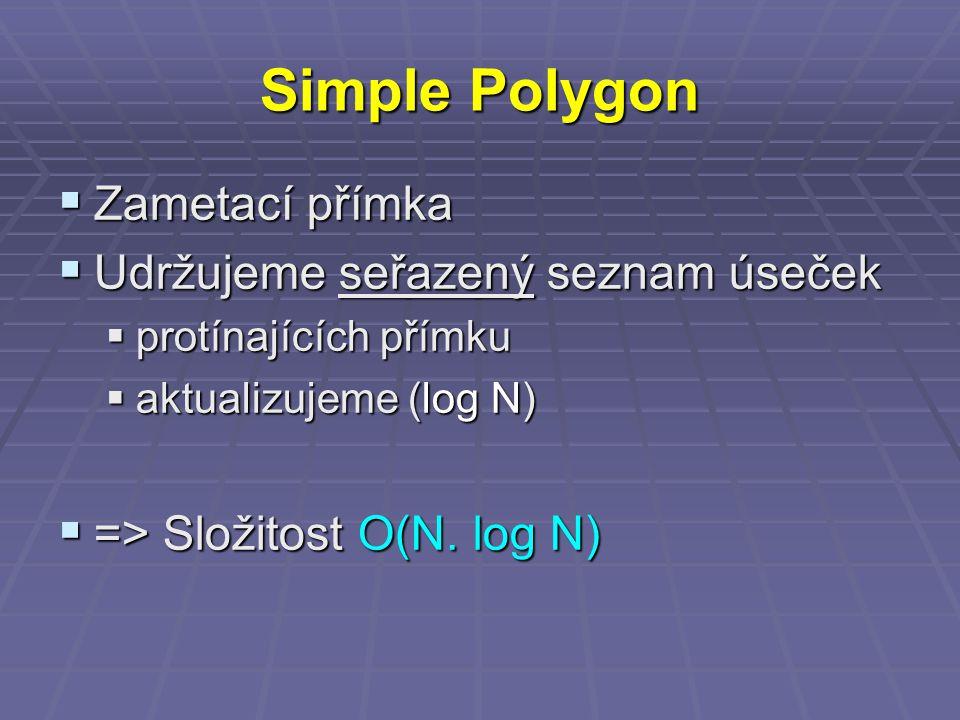 Simple Polygon  Zametací přímka  Udržujeme seřazený seznam úseček  protínajících přímku  aktualizujeme (log N)  => Složitost O(N.